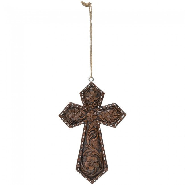 BG91-1203 Ornament Cross Tooled Floral