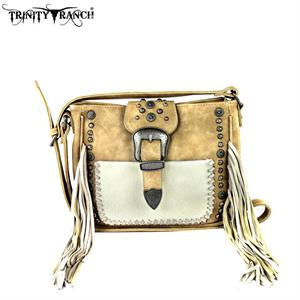 BGTR35G-121 TN Purse - Trinity Ranch Hair on/Fringe Tan Leather