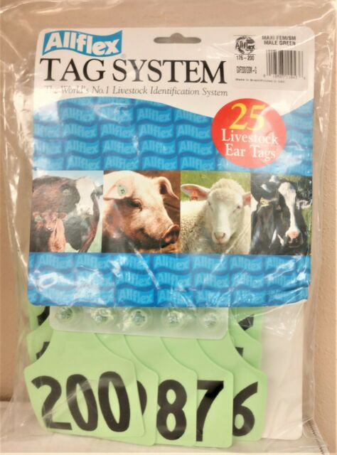 ACFLXNUM-176-200-Green Allflex Maxi Numbered Tags 25's