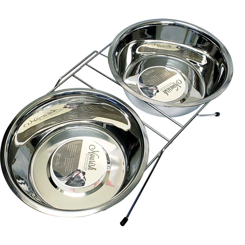 PSD688-61519 Dog/Pet Dish Double w/Stand SS 1 pint