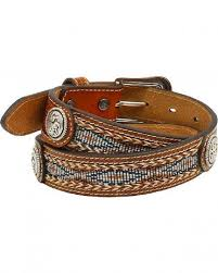 CLA1301448-18 Belt Kids Ariat Ribbon Concho Inlay