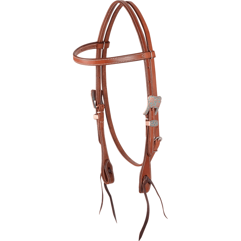 TKCR/HB11CPL Headstall Browband Chestnut Skirting TQ//Copper Buckles