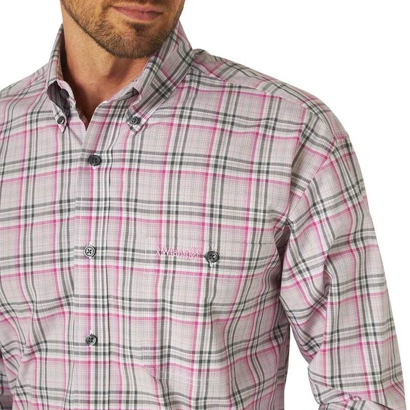 CLMTP269M-L-Pink Wrangler Mens L/S Plaid Pink Tough