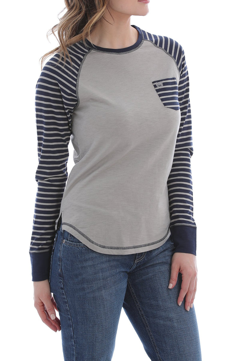 CLMSK7881001-L-Gry/Navy Cinch L/S Raglan Strip Sleeve