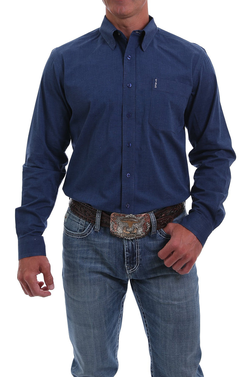 CLMTW1343114-XS-Blue Cinch Shirt MENS L/S Modern Solid Blue