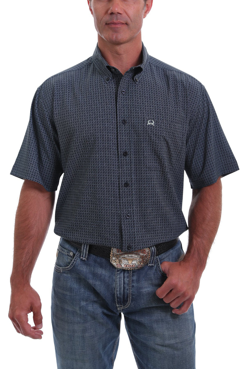 CLMTW1704064-S-Navy Cinch Shirt MENS S/S ArenaFlex Print Navy