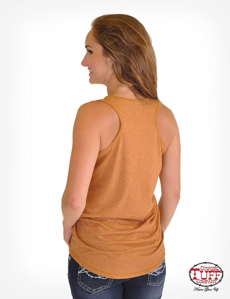 CLTUFF100369-L-Orange Tank Racerback Walk on the Wild Side