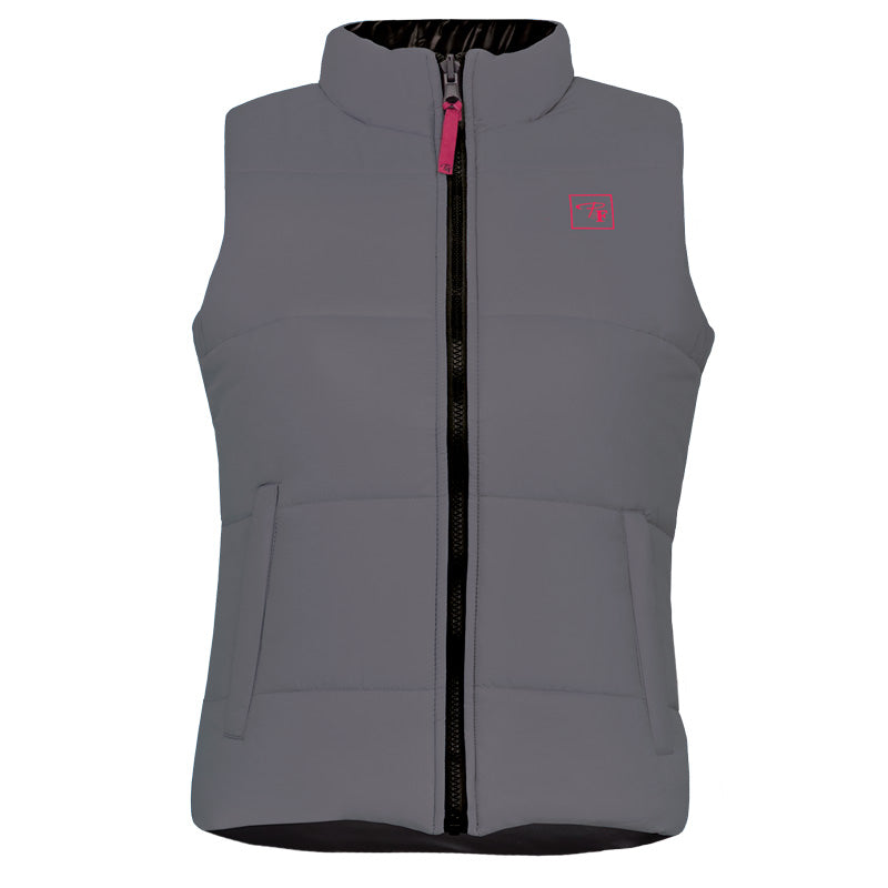 CLPF495-L-Gry/Blk Insulated Ladies Reversible Vest