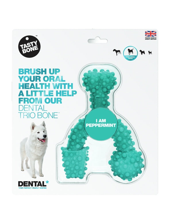 PSD868-74676 Dog Toy Dental LARGE Trio Bone Peppermint
