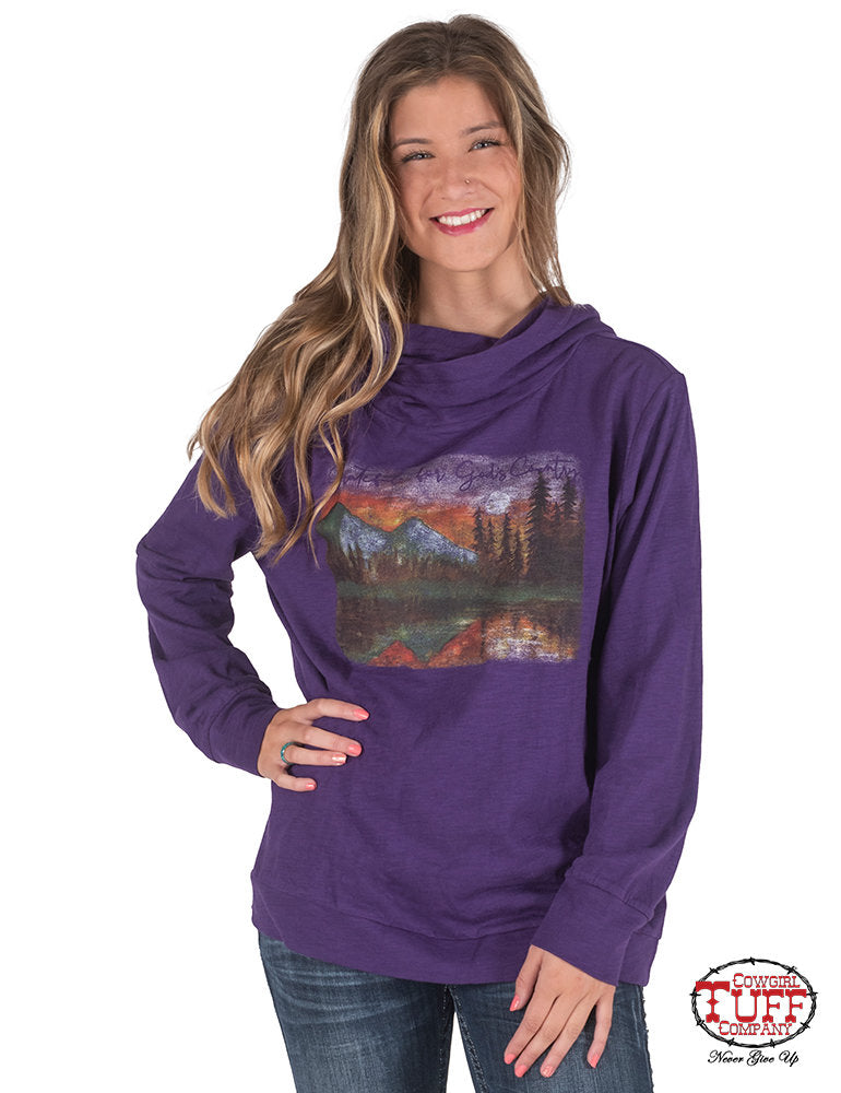 CLTUFFF00452-L-Purple Pullover Cowl Neck Mountain Graphic