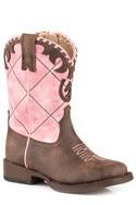 "CL09-017-1902-2000-5-Brn Pnk Cowboy Boot Roper ""Lacy"" Toddlers"