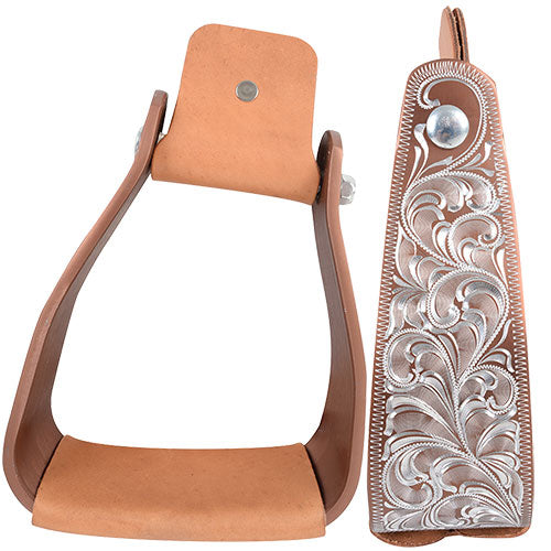 "TKSA-SS3--Copper Stirrups Cashel Slanted Engraved 3""x5.5"""