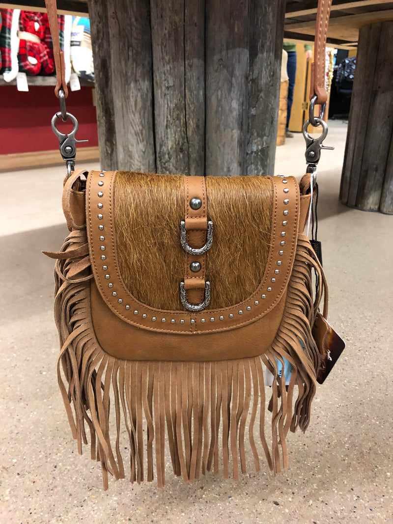 BGRLC-L107BR Crossbody - Tan Leather/Hair/Fringe
