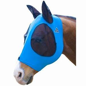 TKCFM100-Horse-Blk Blue Fly Mask PC Comfort Fit Lycra