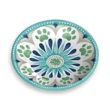 "PS172-20737 Dog/Pet Saucer ""Medallion"" Turquoise"