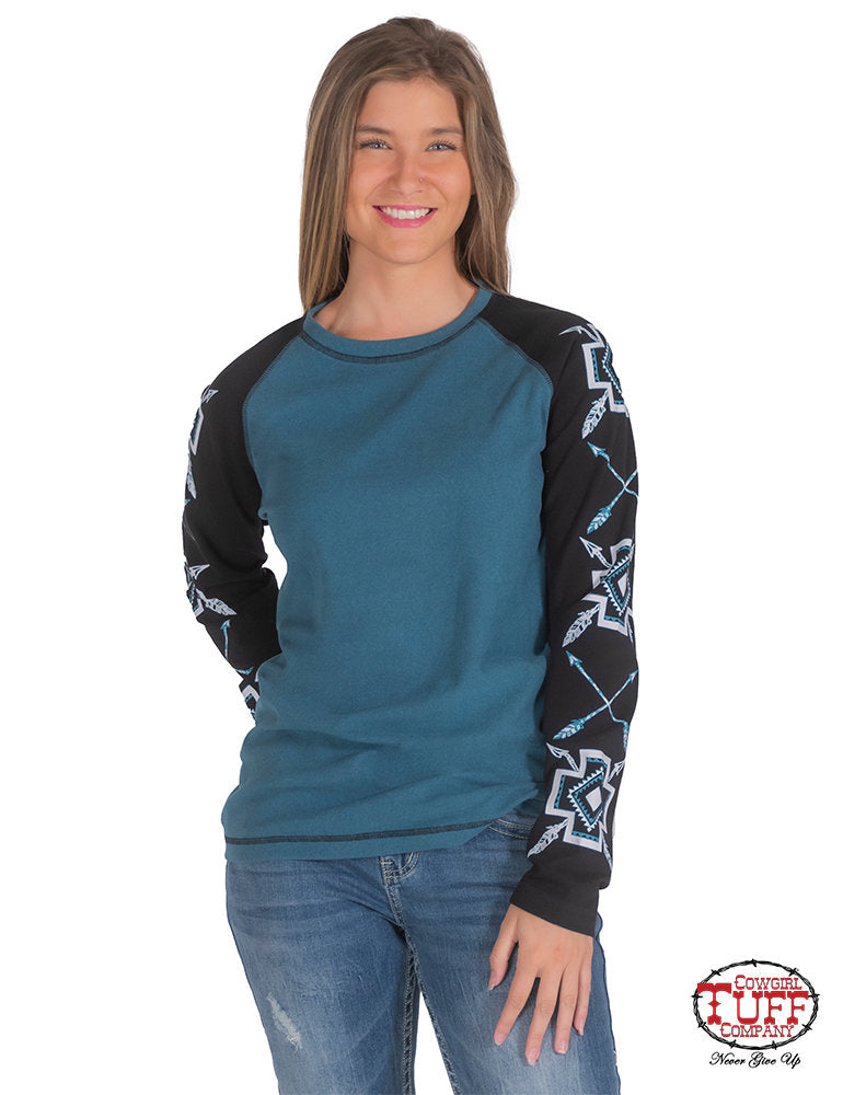 CLTUFFC02-H00672-M-Teal L/S Baseball Tee w/Contrasting Mosaic Graphic Print