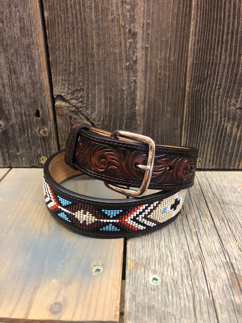 CLD8808-26 Belt Kids Leather Tooled w/Beading
