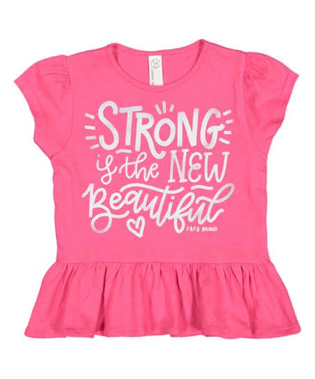 CLF63008362HP-2T Girls T-Shirt - Strong/New Beautiful - Pink