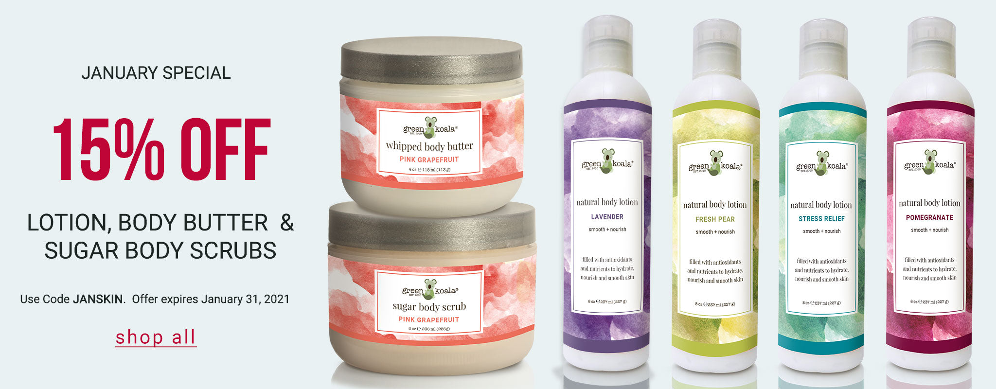 January Special: 15% off body butter, lotion, and sugar body scrubs