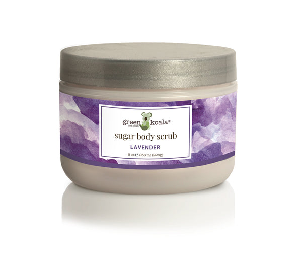 Organic Lavender Sugar Body Scrub in 8 oz jar with lavender watercolor label