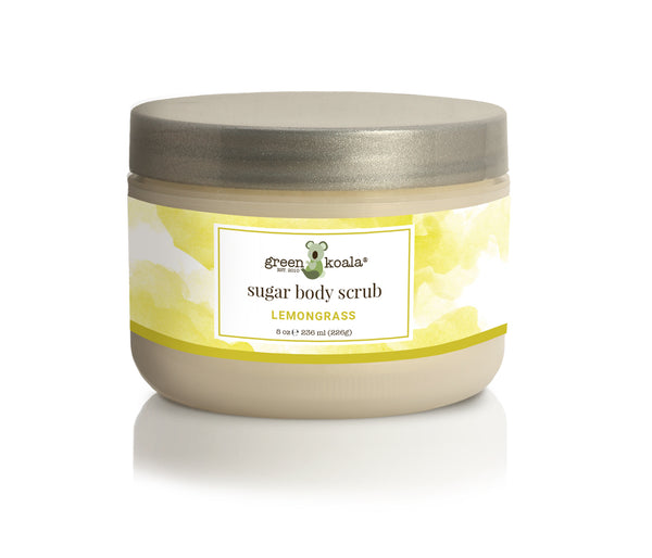 Organic Lemongrass Sugar Body Scrub in 8 oz jar with silver lid and lemongrass watercolor label