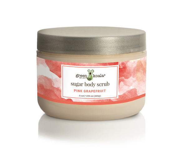 Organic Pink Grapefruit exfoliating body scrub in 8 oz jar with silver lid and pink grapefruit watercolor