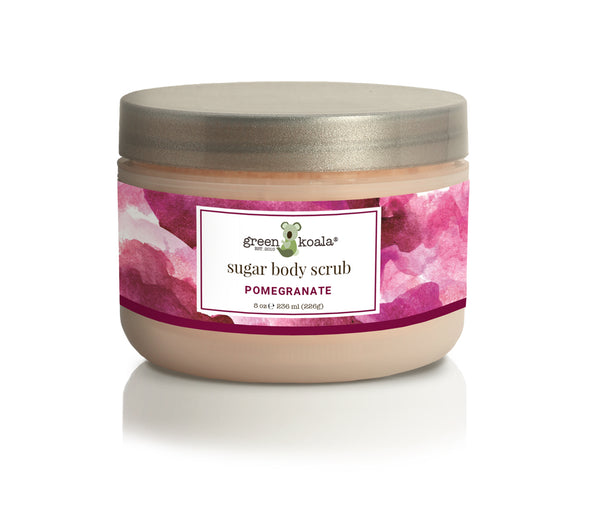 Organic pomegranate exfoliating sugar body scrub 8 oz jar with silver lid and pomegranate watercolor label
