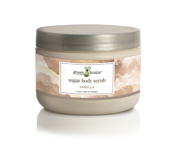 Organic vanilla exfoliating sugar body scrub in 8 oz jar with silver lid and vanilla watercolor artwork on label.
