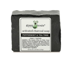 Activated charcoal peppermint & tea tree organic bar soap
