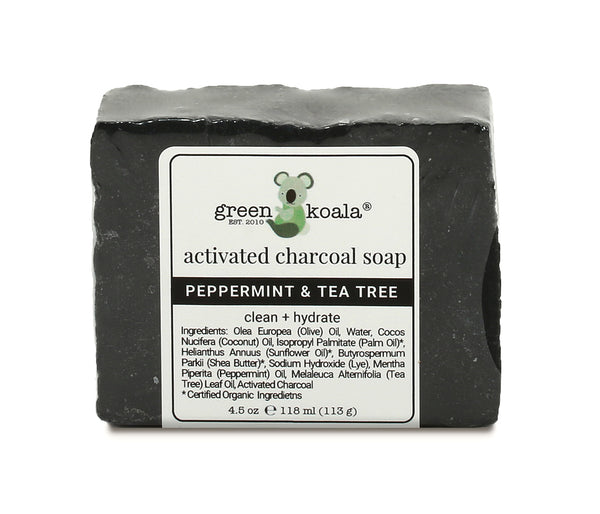 Green Koala Organic Peppermint & Tea Tree Activated Charcoal Bar Soap