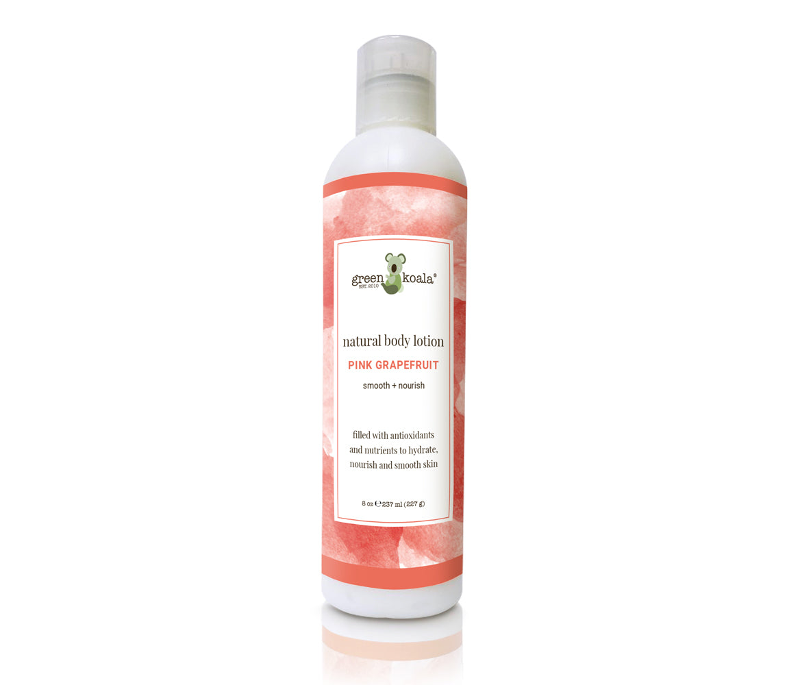 Green Koala Organic Pink Grapefruit Natural Body Lotion in 8 oz Bottle with watercolor label