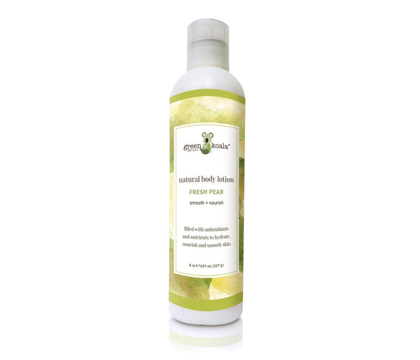 Natural Fresh Pear Body Lotion in 8 oz bottle with press lid.