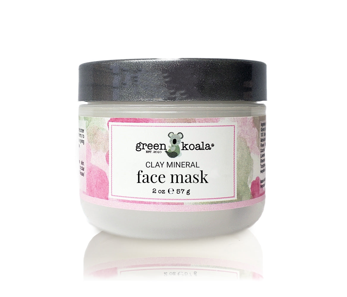 Clay mineral face mask in 2 oz jar with silver lid