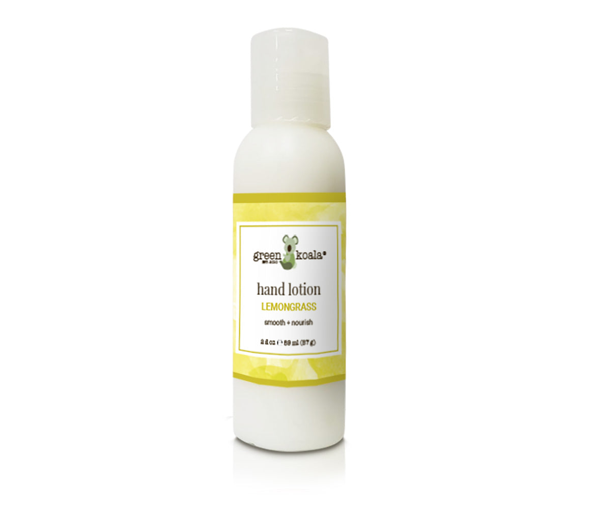 Green Koala Organic Lemongrass Hand Lotion in a 2 oz bottle with push cap