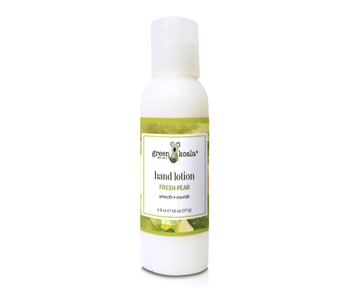 Natural Fresh Pear Hand Lotion in 2 oz bottle with push cap lid