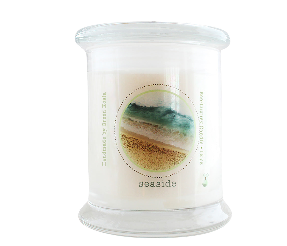 Green Koala Organic Seaside Eco-Luxury Candle Glass Jar With Lid