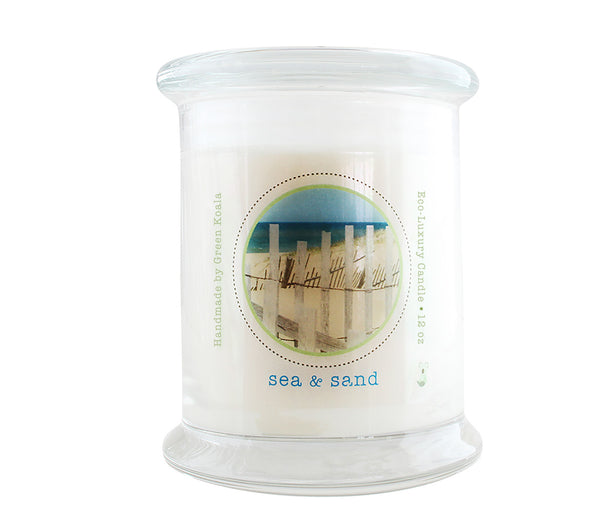 Green Koala Organic Sea & Sand Eco-Luxury Candle Glass Jar With Lid