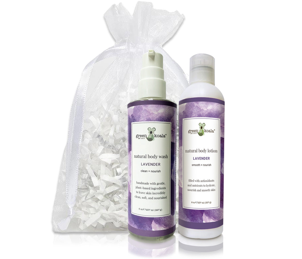 Organic Lavender Body Wash & Lotion Gift Set with white organza bag