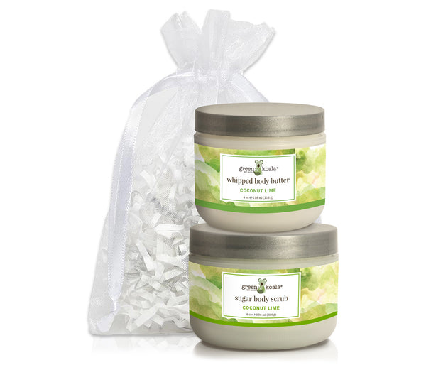 Green Koala Organic Coconut Lime Body Butter & Scrub Gift Set in a White Organza Bag