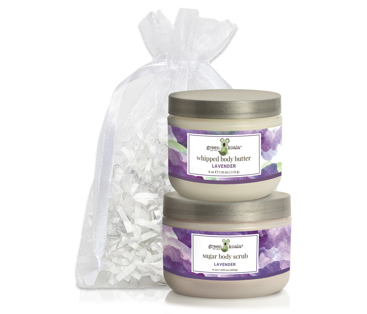 Organic Lavender Body Butter & Scrub Gift Set with white organza bag