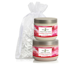 Organic Peppermint & Eucalyptus Body Butter & Scrub gift set packaged in a white organiza bag