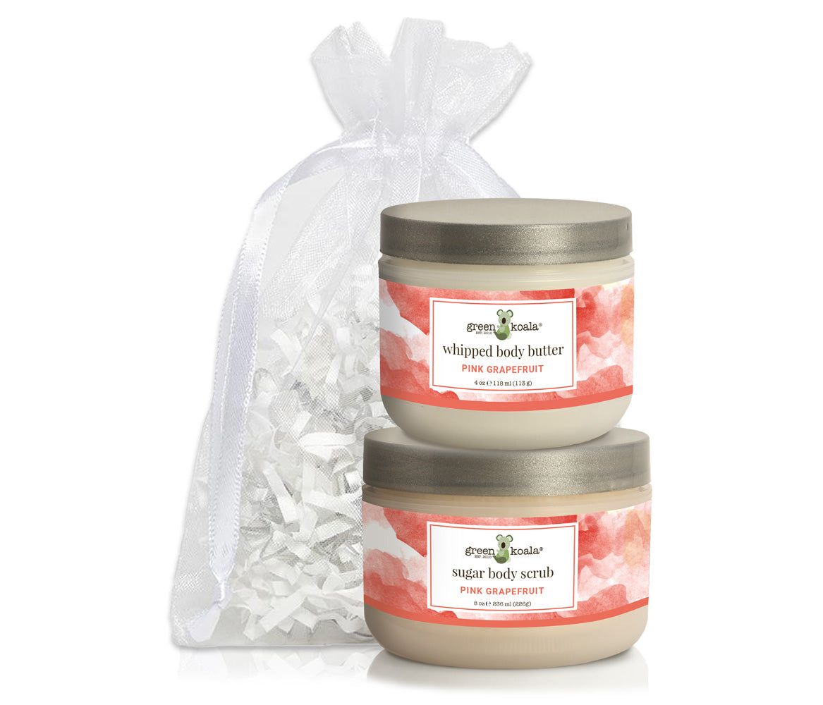 Organic Pink Grapefruit Body Butter & Scrub gift set packaged in a white organiza bag