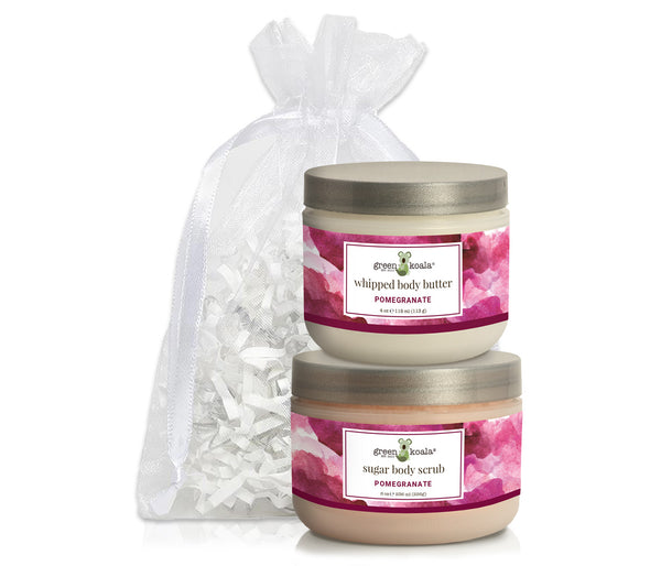 Organic Pomegranate Body Butter & Scrub gift set packaged in a white organiza bag