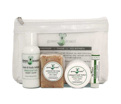 Organic Unscented Body Care Travel Gift Set in White Mesh Bag