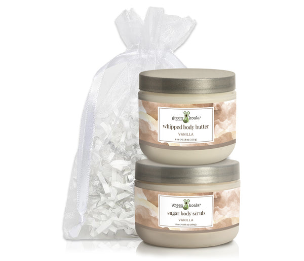 Organic Vanilla Body Butter & Scrub gift set packaged in a white organiza bag
