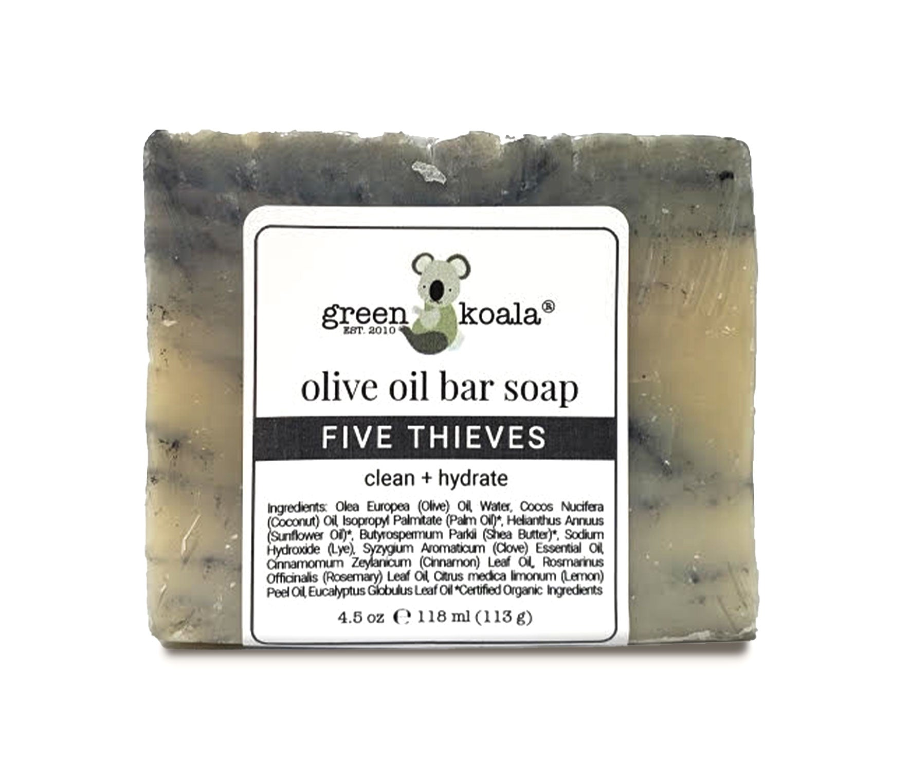 Natural Five Thieves Olive Oil Bar Soap Individual Bar Soap. Beige with gray marbling throughout.