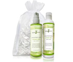 Organic Coconut Lime Body Wash & Lotion Gift Set with white organza bag