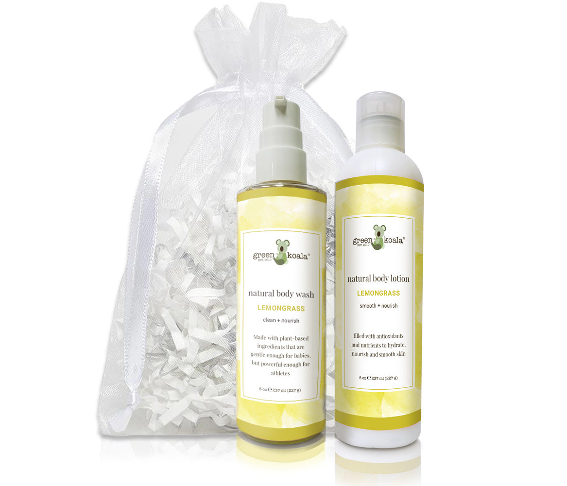 Organic Lemongrass Body Wash & Lotion Gift Set with white organza bag