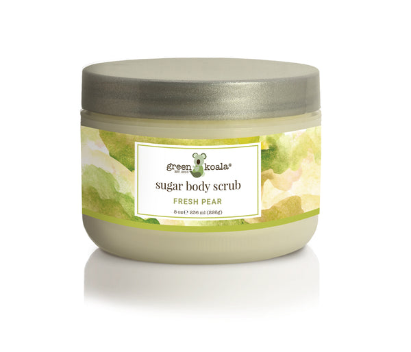 Organic Fresh Pear Sugar Body Scrub in 8 oz tub with silver lid