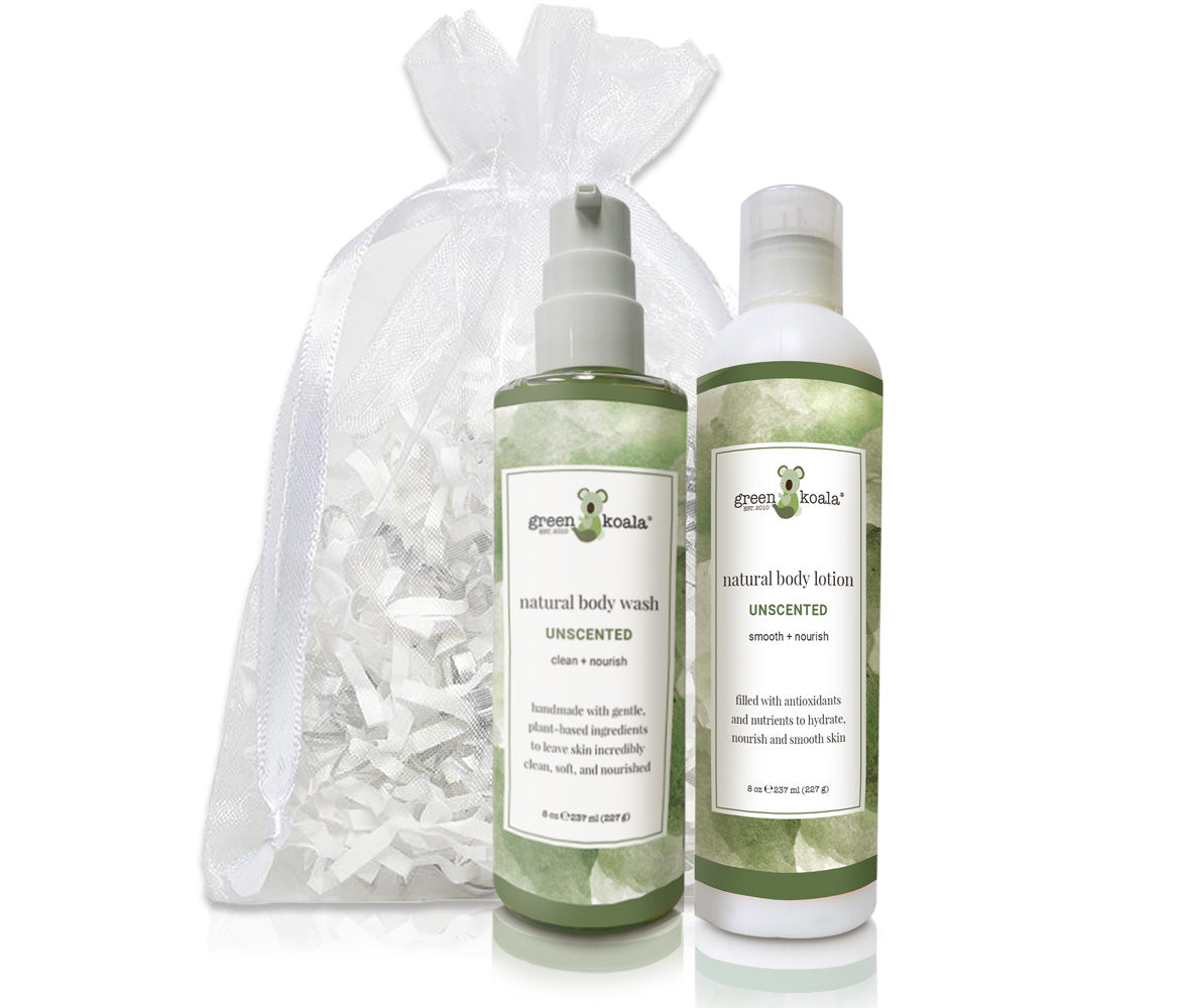 Organic Unscented Body Wash & Lotion Gift Set with white organza bag
